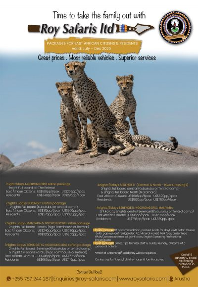 Roy Safaris special EA resident rates