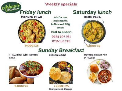 Weekend special menu