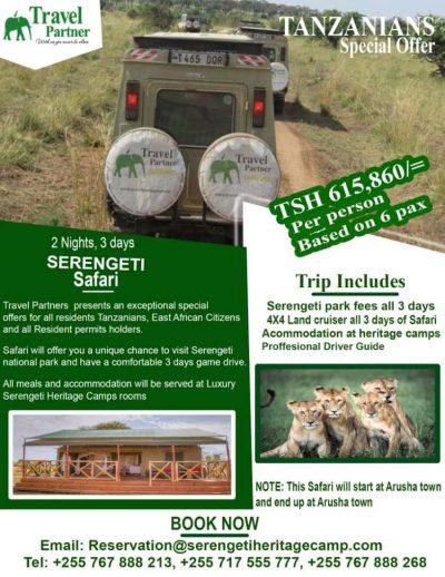 Serengeti Special rates for Tanzanians
