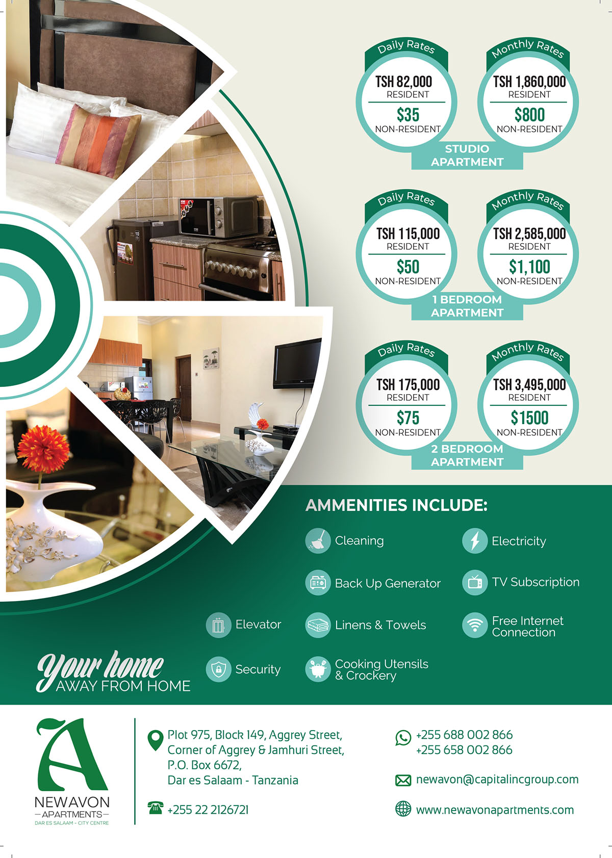 New Avon Apartments Accommodation rates