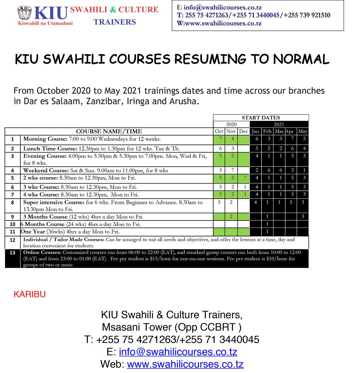 KIU Swahili & Cultural Trainers Courses resume