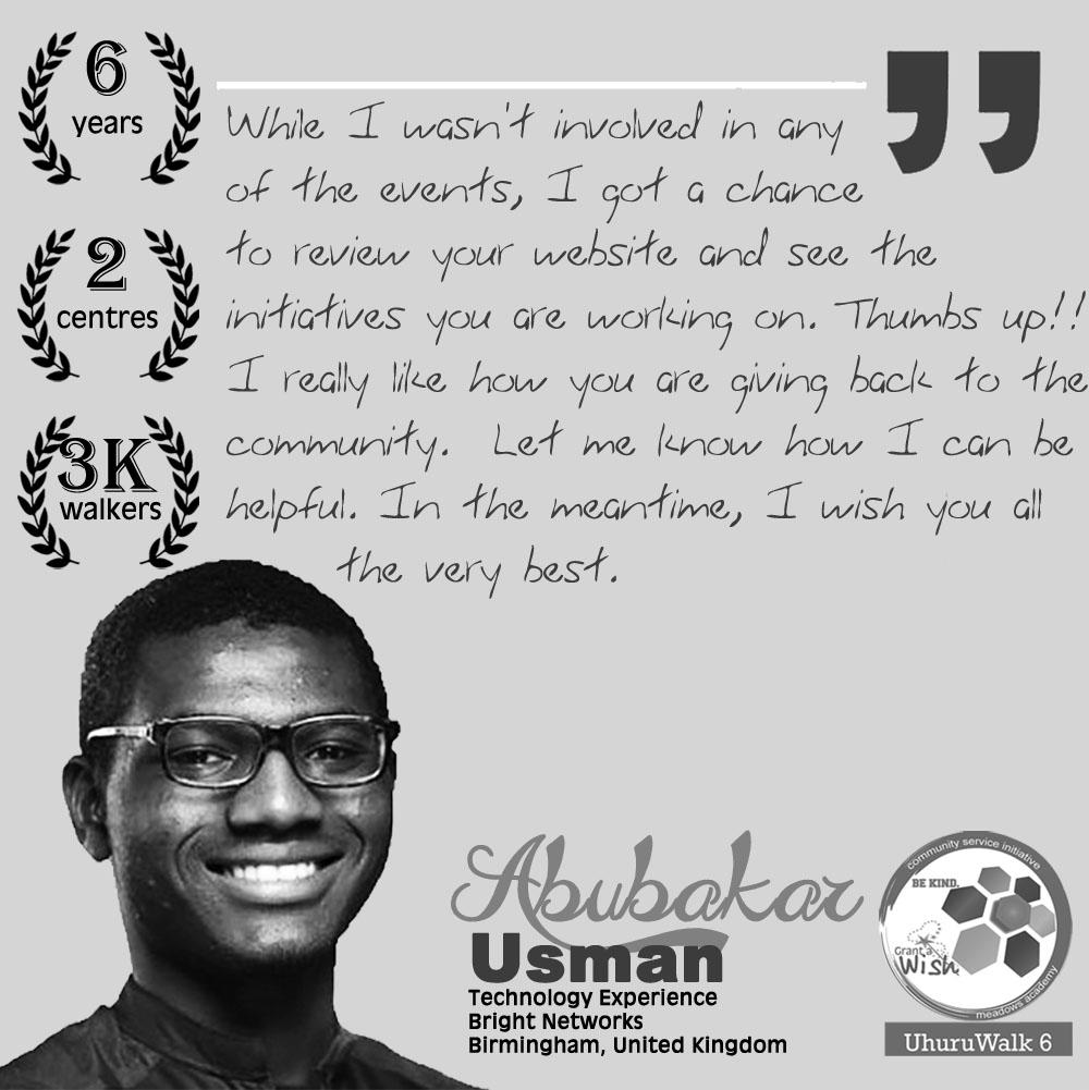 Abubakar Usman Uhuru Walk Testimonial