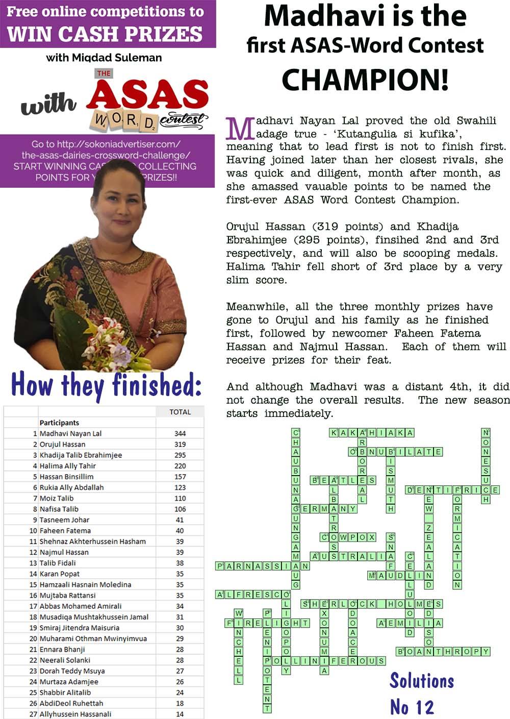 SokoniAdvertiser-Madhavi-is-the-first-ASAS-Word-Contest-Champion